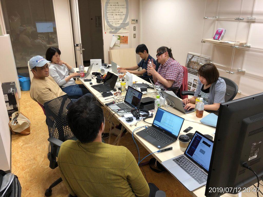 東京ゲームショウ出展に向けた開発ミーティングの様子。
