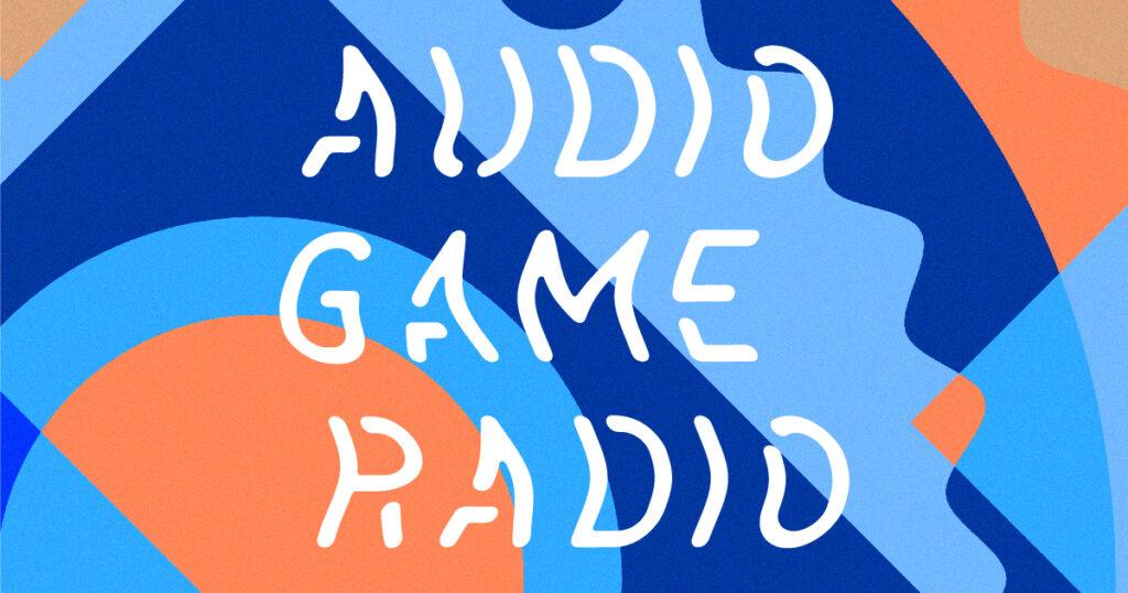 オーディオゲームラジオのロゴ。アルファベットで書かれたロゴの背景に青やオレンジでできた丸や三角などさまざまな形が重なり合う。